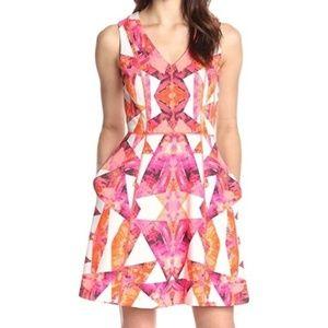 Vince Camuto Pink Orange White Scuba Dress Size 6
